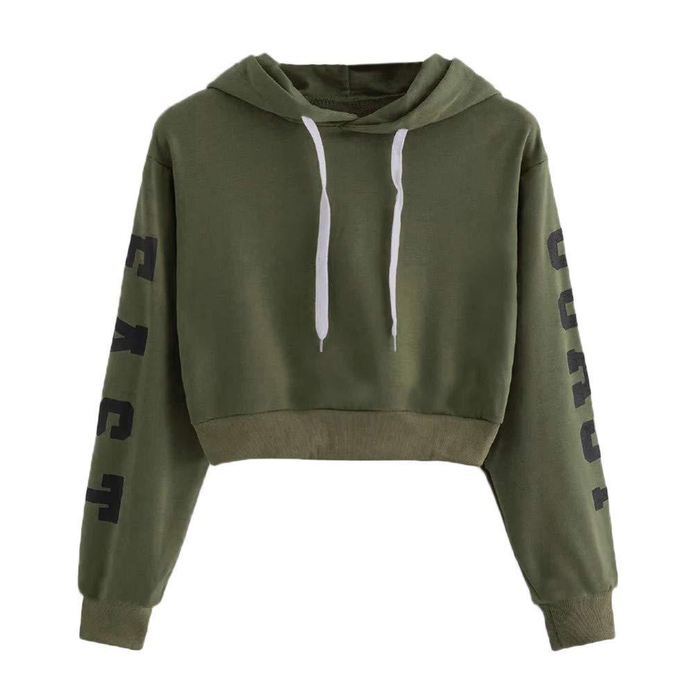 Cuekondy Women Teen Girls Letter Printed East Coast Long Sleeve Crop Top Hoodie Sweatshirt Casual Pullover Tops Blouse (Army Green, L)