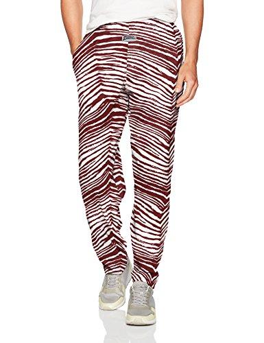 (Zubaz Men's Classic Zebra Printed Athletic Lounge Pants, Maroon/White)