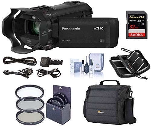 Panasonic HC-VX981K 4K Ultra HD Camcorder with 4K Photo Capture, Wi-Fi - Bundle with Video Bag, 32GB Class 10 U3 Sdhc Card, Cleaning Kit, 49mm Filter Kit, Memory Wallet (V10 Panasonic)