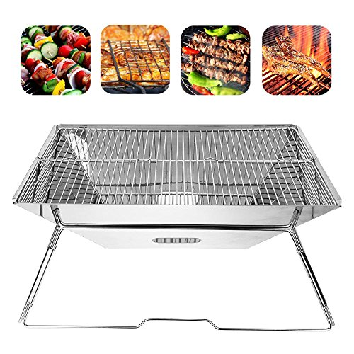 GOTOTOP Portable Charcoal Barbeque Grill,Stainless Steel Compact Folding Barbeque Grill Carry-on BBQ Grill for Camping,Picnics, Backpacking, Backyards, Survival