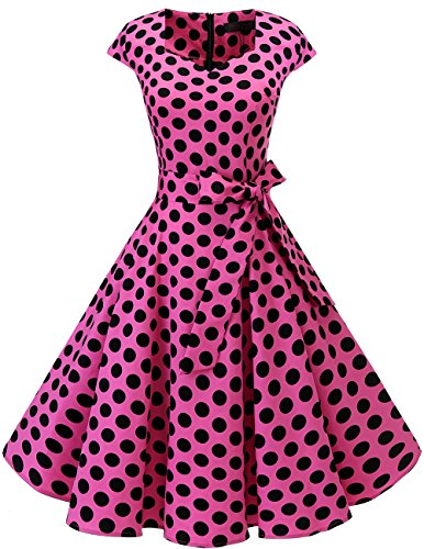 DRESSTELLS Retro 1950s Cocktail Dresses Vintage Swing Dress with Cap-Sleeves Pink Black Dot XL