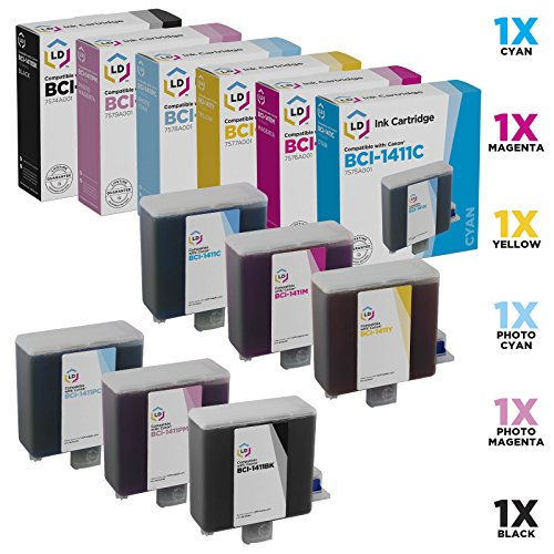 LD Compatible Ink Cartridge Replacement for Canon BCI-1411 (Black, Cyan, Magenta, Yellow, Photo Cyan, Photo Magenta, 6-Pack)