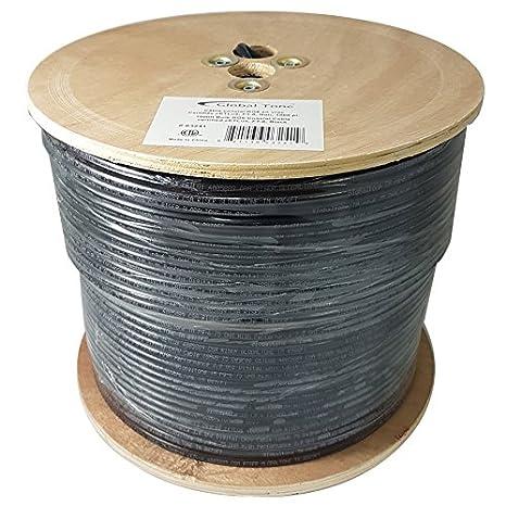 GlobalTone RG6 Coaxial Cable FT6 CMP Plenum cETLus Certified Bulk Wire (1000ft, Black) 821136032280