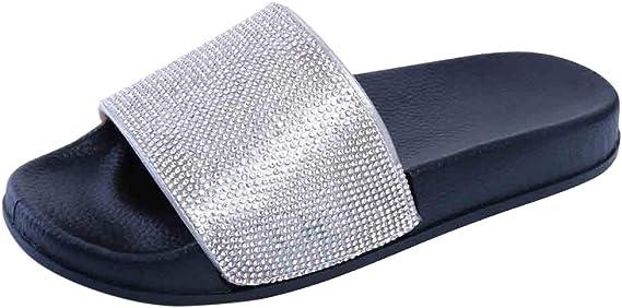 /♥ Loveso/♥ 2019 Fashion Fusskleidung Damen Metallic Schlappen Glitzer Komfort Sandaletten Sandalen Offene Sandalen