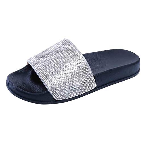 Internet_ Zapatillas Planas de Belleza Europea para Caminar Playa,Chanclas/Flip Flops de Diamantes de imitación Sexy,Sandalias/Sandals De Tacón Bajo Grueso ...