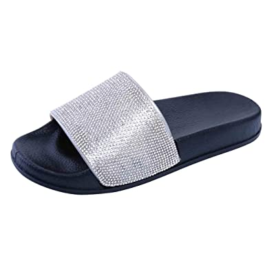 02591056a7c2 Womens Flat Slide Sandals Diamante Sparkly Slip on Shoes Indoor House  Slippers (Black