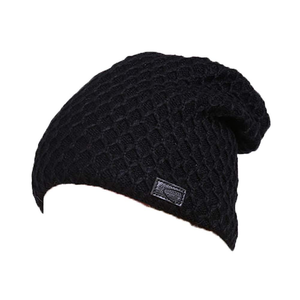 Ouken Uomini donne Hat berretto di maglia a maglia più velluto lavorato a maglia cappello Natale, nero blu