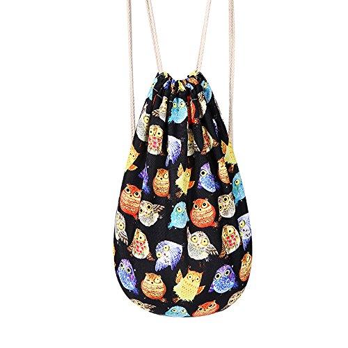HANRUI New Print Drawstring Backpack Multipurpose knapsack (Colorful Owl-3)