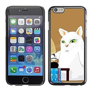 QCASE / Apple Iphone 6 / gran gato blanco arte cómico ojos verdes caldera / Delgado Negro Plástico caso cubierta Shell Armor Funda Case Cover