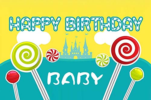 - Baocicco 5x4ft Happy Birthday Backdrop Lollipops Hard Candy Fruit Cube Cookies Cartoon Castle Photography Background Girl's Birthday Party Candy Party Baby Shower for Baby Girls Photo Booth Prop