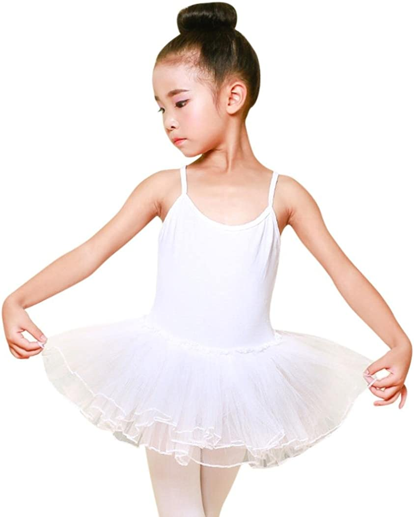WARMSHOP Toddler Girls Classic Plus Size Dance Dress Bodysuit Gymnastics Tutu Leotard Dress