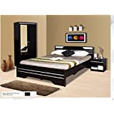 Zuari Neo Bedroom Pacakage -1 without stroage king size bed-2 Door Wardrobe with Mirror On front-1 Sidestool with one drawer