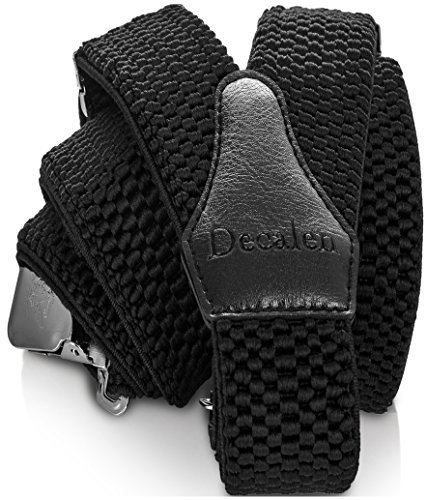 Decalen Mens Suspenders with Very Strong Clips Heavy Duty One Size Fits All Big and Tall Wide Adjustable and Elastic Braces Y Back Shape (Black)