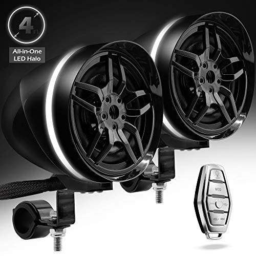 """GoHawk AR4-Halo LED 4"""" All-in-One Waterproof Bluetooth Motorcycle Stereo Speakers"""