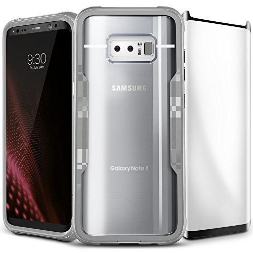 Zizo Shock 2.0 Series Compatible with Samsung Galaxy Note 8 Case Military Grade Drop Tested with Tempered Glass Screen Protector Silver Gray