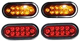 """2 AMBER 2 RED Oval 6"""" Sealed LED Stop turn tail Light Kit"""