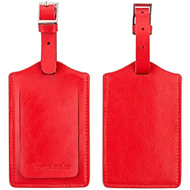Travelambo Genuine Leather Luggage Bag Tags 2 Pieces Set (red)