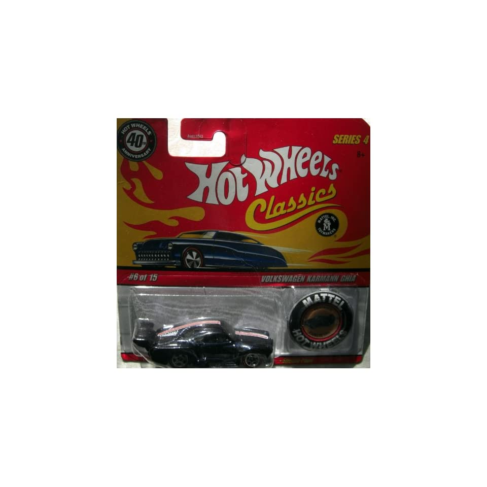 Hot Wheels Classics 40th Anniversary Issue Volkswagen Karmann Ghia Black   Series 4 with I.D. Button Scale 1/64 Collector