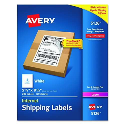 Avery Internet Shipping Labels for Laser Printers with TrueBlock Technology, 5-1/2