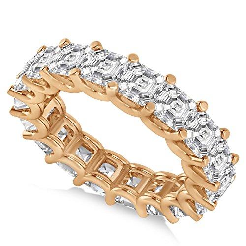 Allurez Asscher-Cut Diamond Eternity Wedding Band Ring in 14k Rose Gold (7.20ct)