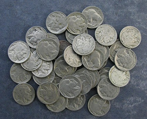 - 40 (Roll) 1930-P Buffalo Nickels Good or Better; Full dates