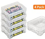 1InTheoffice Crayon Box, Stackable Clear (4 Pack)