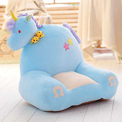 MeMoreCool Cartoon Horse Small Sofa,Cute Children Sofa Chair Seat.Anti-Skidding Tatami Chair,Baby Chair,Birthday Gifts for Boys and Girls,Blue