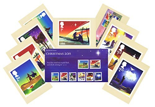 Gift Set of 2015 Christmas Stamps in Presentation Pack and PHQ Cards (Set of 9 Royal Mail Postcards) by Royal Mail Presentation Pack and PHQ Cards
