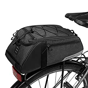 Roswheel Multi-Functional Cycling Bicycle Bike Rear Seat Commuter Trunk Bag Water Resistant Convertible Bike Rear Rack Bag with Adjustable Hooks, Carrying Handle, 7L Capacity (Commuter Trunk Bag)