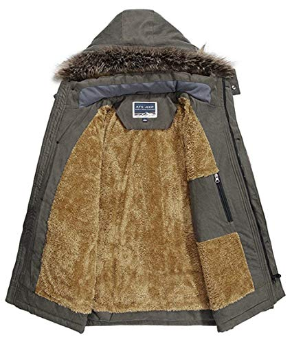 Winter Collar Fur Armee Jacket Warm Hood Fur Coat Detachable Warmth Men's Thick Apparel grün Warm Outdoor Parka Hooded Men Comfortable Jackets Ntel Winter 4xFw5