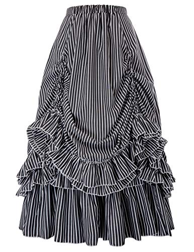 Striped Steampunk Gothic Victorian High Low Skirt Bustle Style (Black White -