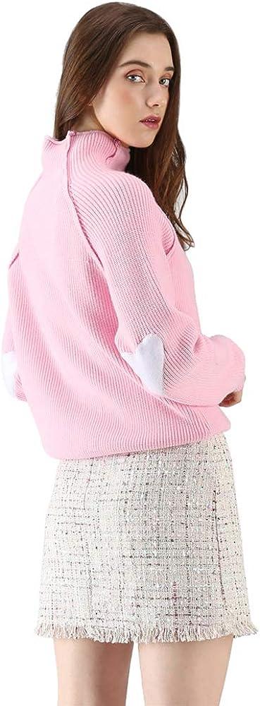Chicwish Maglione da Donna a Maniche Lunghe Stile Casual Colore: Grigio//Bianco//Blu Marino a Forma di Cuore