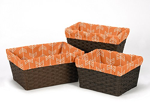 Sweet Jojo Designs 3-Piece Fits Most Basket Liners for Orange and Navy Arrow Bedding Sets by Sweet Jojo Designs