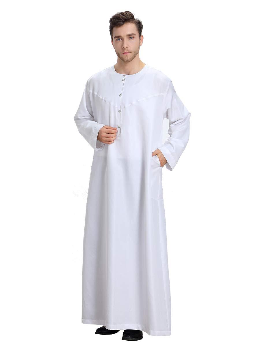AHSER FASHION Muslim Thobe for Men with Long Sleeves Arab Thobe Dubai Robe Saudi Style Men Dress (2X-Large, White)