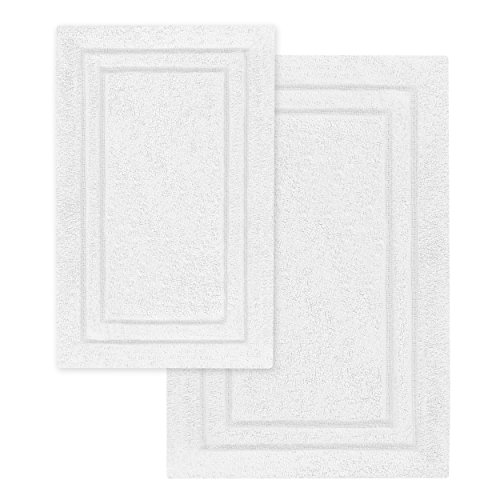 Superior 2-Pack Bath Rugs, Premium 100% Combed Cotton with Non-Slip Backing, Soft, Plush, Fast Drying and Absorbent - White, 20
