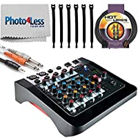 Allen & Heath ZED-6 Compact 6-Input Analog Mixer + 1/8-inch TRS to Dual 1/4-inch TS Cable + 10 Foot Instrument Cable + Strapeez + Photo4Less Cleaning Cloth – Top Value Allen & Heath Mixer Bundle!