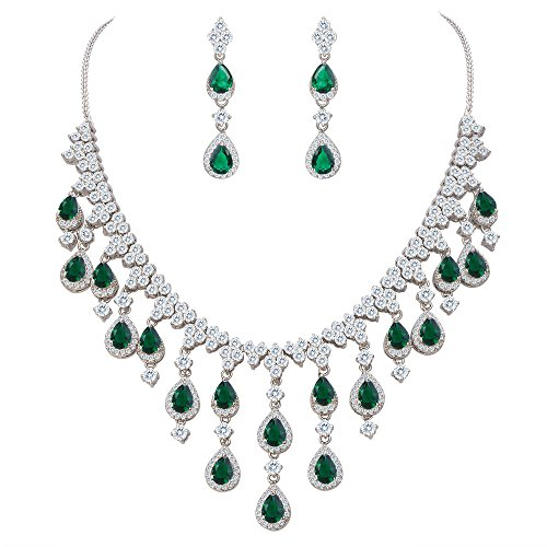 EVER FAITH Women's Cubic Zirconia Gorgeous Water Drop Dangle Necklace Earrings Set Green Silver-Tone