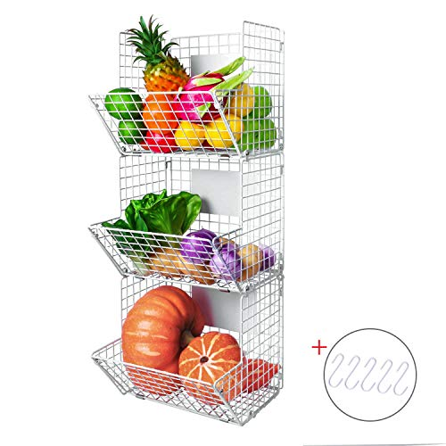 X-cosrack Metal Wire Basket Wall Mount, 3 Tier Wall Storage Basket Organizer with Hanging Hooks Chalkboards, Rustic Kitchen Fruit Produce Bin Rack Bathroom Tower Baskets (White) (3 Tier Hanging Fruit Vegetable Kitchen Storage Basket)