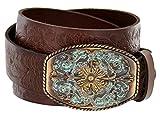 Women's Western Tooled Full Grain Leather Jean Belt Brown 1.5'' Wide (Brown, 34)