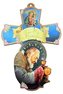 Saint St San Pio da Pietrelcina with Our Lady of Perpetual Help 6 Inch Wood Wall Cross by San Francis Imports