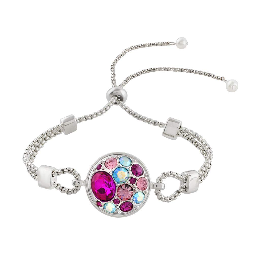 LOV*MOMENT Lovmoment Bracelets Black Leather with Rhinestone Fit 18-20mm Interchangeable Snap Charms