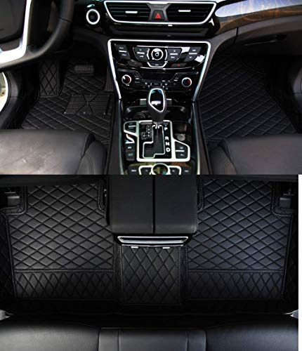 Bonus-Mats Custom Fit Luxury XPE Leather All-Weather Full Surrounded Waterproof Car Floor Mats Floor Liners for BMW 535 Gran Turismo 535GT 550 Gran Turismo 550GT 2014-2017 Black with Black Stitching
