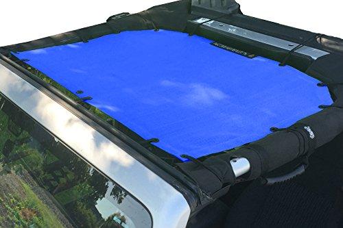 (Alien Sunshade Jeep Wrangler Mesh Shade Top Cover with 10 Year Warranty Provides UV Protection for Front Passengers 2-Door or 4-Door JK or JKU (2007-2017) (Cobalt Blue))