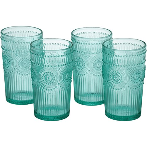 The Pioneer Woman Adeline 16-Ounce Embossed Glass Tumblers, Set of 4