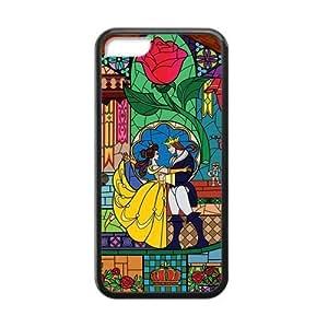 LJF phone case LeonardCustom- Beauty and The Beast Princess Belle Protective Hard TPU Rubber Coated Phone Case Cover for iPhone 5C -LCI5CU426