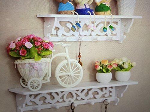- Set of 2 Wall Mounted Floating Shelves Wooden Carved Look MDF Shelf, NOT Plastic White Art Decor, Shabby Chic, Excellent Wall Decor