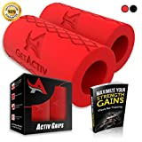 Activ Grips - Thick Bar Training Adapter [1 Set] w/Bonus E BOOK//Fat Grip Attachment Fits On Barbell, Dumbbell, Cable Attachment For Extreme Muscle Growth - Strengthen Forearms, Biceps, Triceps