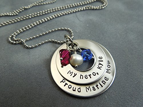 Army Mom Pendant (Personalized military mom necklace, hand stamped stainless steel, proud marine mom, army mom, navy mom,)
