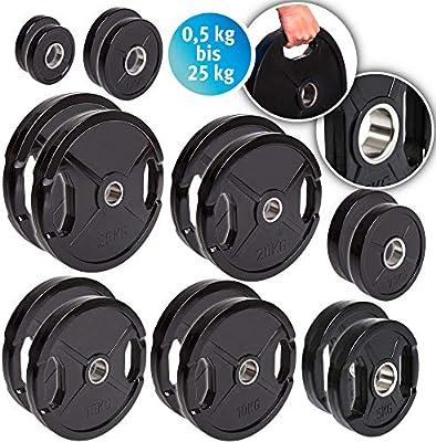 Discos para pesas de hierro fundido de C.P. Sports, 1 par o 2 pares de discos para pesas de 30 mm; 0,5 kg, 1 kg, 1,25 kg, 2,5 kg, 5 kg, ...