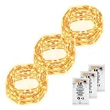 LE 3 Pack 60 LEDs Copper Wire String Lights Warm White Waterproof Battery Powered Fairy Starry Lights for Garden Patio Party Valentine's Day Wedding Christmas Tree (19.68FT)